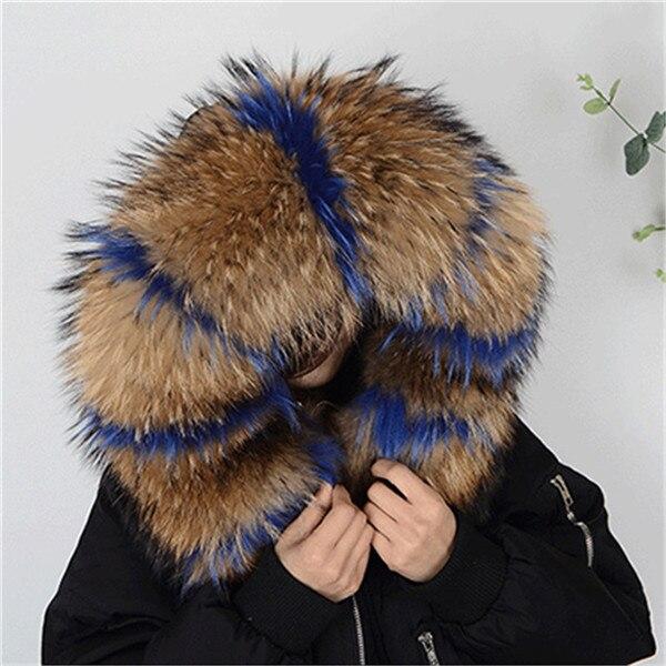 Горячая Распродажа, шарф из натурального меха, воротник 75*20 см, Женское зимнее пальто, меховые шарфы, роскошный мех енота, настоящие зимние теплые грелки для шеи, Shaw - Цвет: blue