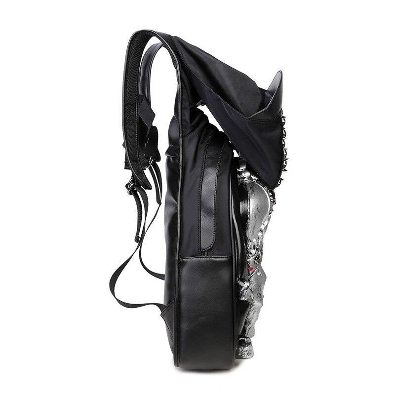 Mode Punk sac à dos femmes hommes hip-hop sac à dos Famale 3D tigre Rivet sacs à dos avec chapeau sacs d'école pour adolescents sac de voyage - 4