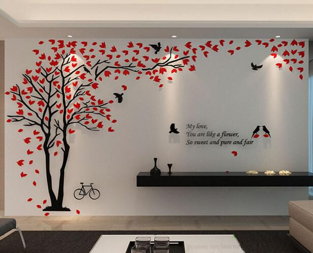 Fashion Acrylic 3d Photo Frame Tree Wall Sticker Paper For Living