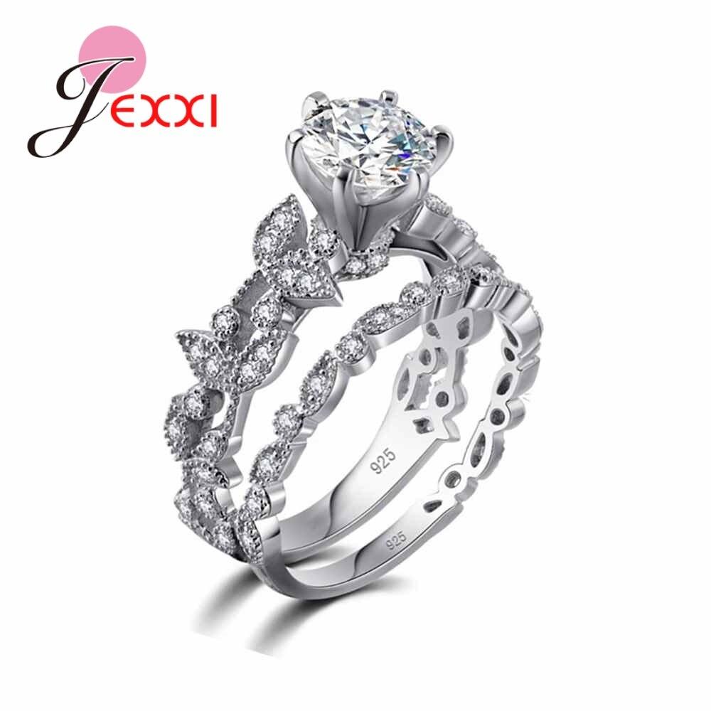 JEXXI заводская цена изысканный цветок Форма стразами комплект кольцо для свадебной церемонии ювелирные изделия стерлингового серебра 925 и CZ