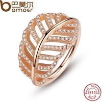 BAMOER 925 Sterling Silver Light As A Feather Ring Rose Clear CZ Finger Ring For Women