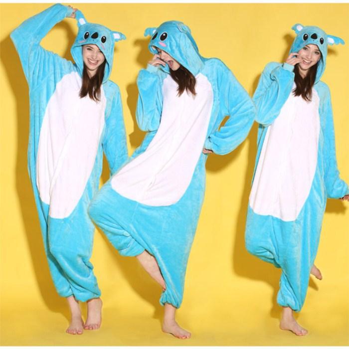 Wholesale Unisex Cartoon Animal Blue Kaola Adult Onesies Onesie Pajamas  Jumpsuit  Hoodies Sleepwear For Adults