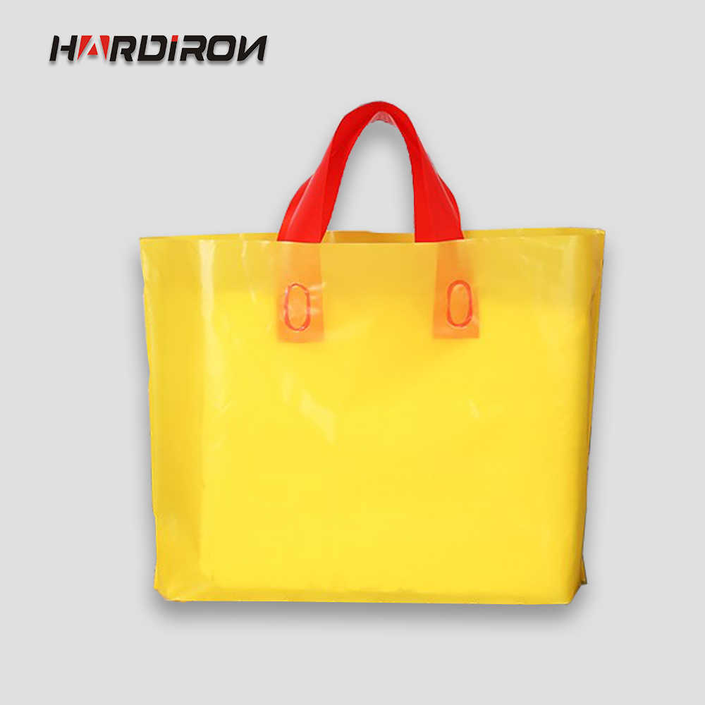 HARDIRON 50pcs Multi-Color PE Clothing Portable Plastic Pouch With Handle Clothes Gift Packaging Bag Customizable LOGO