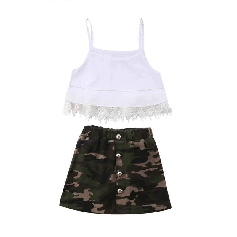 Children Kid Baby Girl Clothes Set Summer Sleeveless Crop Tops Tassel Lace Camouflage Skirt Girls Clothing Cute Outfits 2pcs Clothing Sets Aliexpress