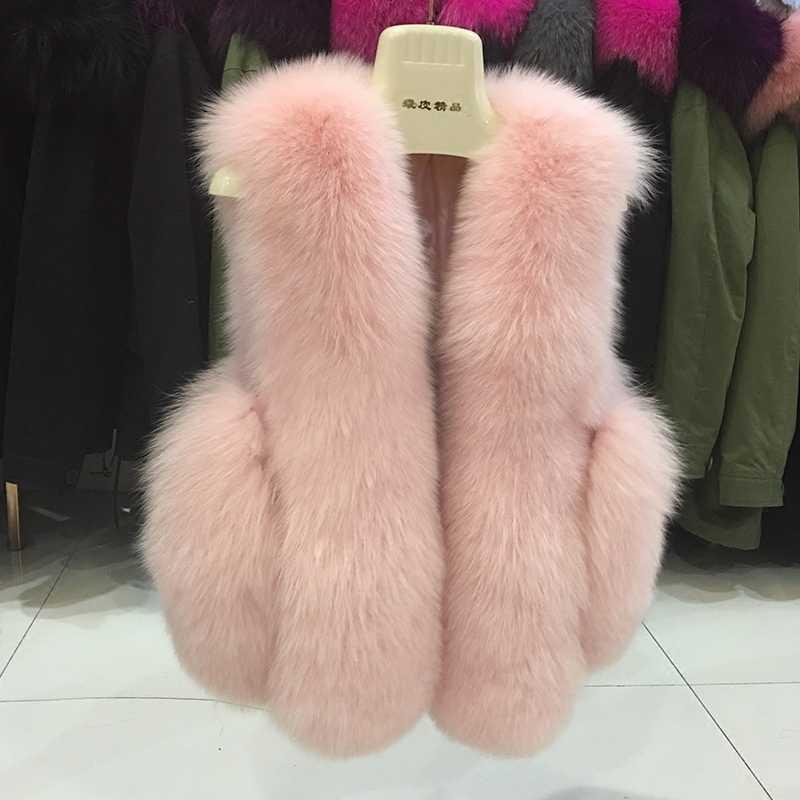 Doğal gerçek tilki kürk yelek 2018 yeni kış kısa kalın kadınlar için hakiki kürk yelek ceket cepler gerçek kürk yelek palto