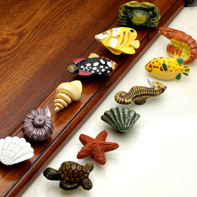 1pcs Marine Series Resin Handles Pulls Drawer Cabinet Handle and Knob for Home Hardware Furniture Door Knobs Sea Starfish css clear crystal glass cabinet drawer door knobs handles 30mm