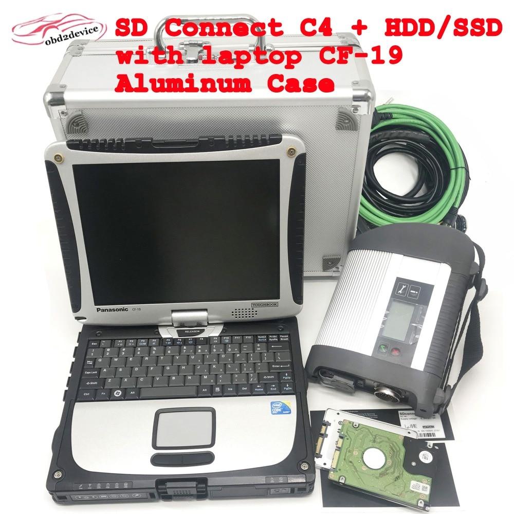 MB ÉTOILES C4 SD Connecter C4 scanner avec HDD/SSD Logiciel V2019.03 Plus Super Toughbook CF19 pour la voiture système d'essai diagnostiquer sd c4
