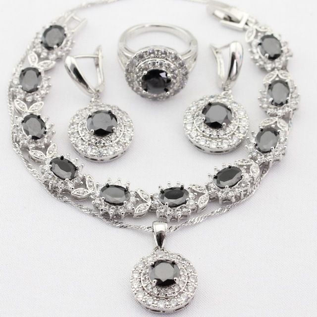 Charms Silver Color Women Jewelry Sets Black&White Created Sapphire Necklace Pendant Drop Earrings Rings Bracelet Christmas Gift