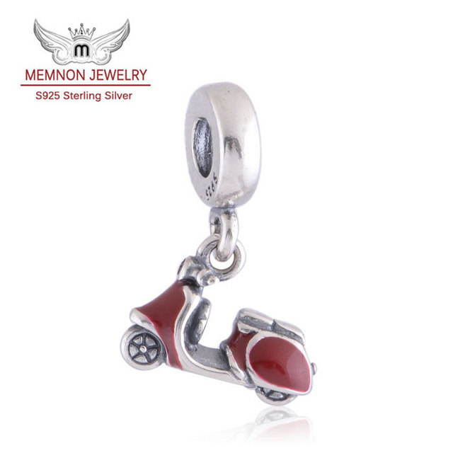 RED SCOOTER DANGLE Charm Genuine 925 Sterling Silver Fits European Brand Bracelets Bangles DIY Making Memnon Jewelry LW258