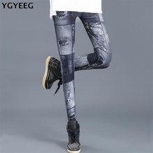 YGYEEG Cowboy Slim Leggings 2019 di Nuovo Modo Ghette Per Le Donne Pantaloni In Denim Faux Sottile di Forma Fisica Più Il Formato Leggins Abbigliamento Donna