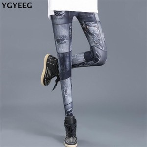 Image 1 - Ygyeegカウボーイスリムレギンス2019新ファッションレギンス女性のためのデニムパンツスリムフィットネスプラスサイズレギンス婦人服