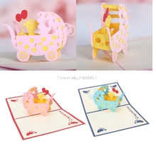 3D Baby Carriages Greeting Card Pop Up Paper Cut Birthday Festival Party Gift Handmade Custom Greeting Souvenirs Postcards H06