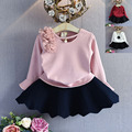 children clothing sets 2017 new fashion spring autumn top long flare sleeve solid t shirt+black tutu skirt girl outfits 2-7T