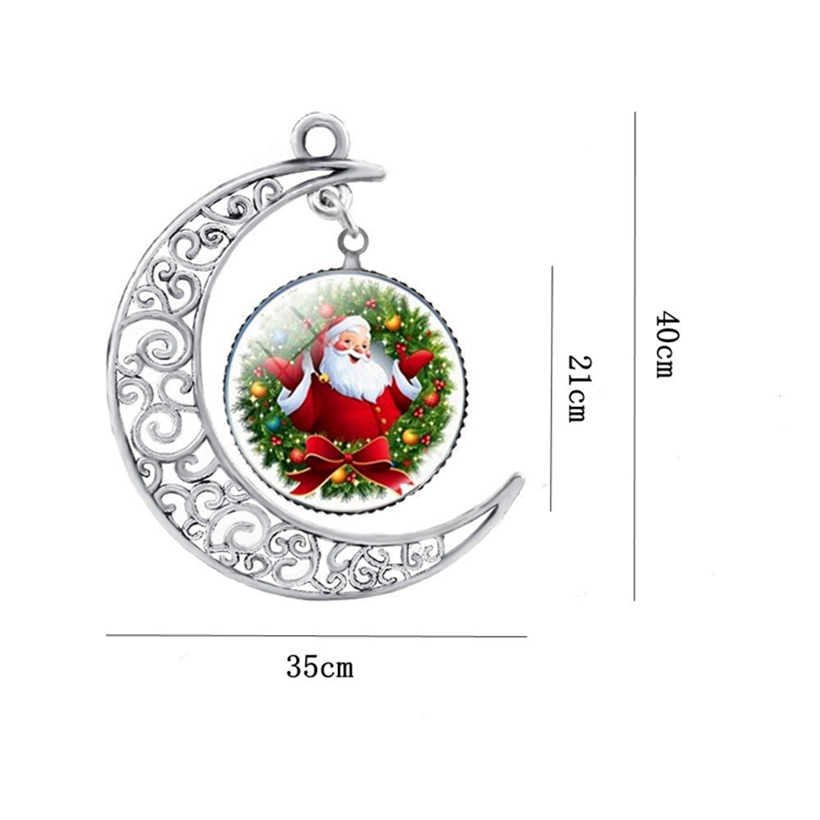 SUTEYI HOT! Silver Color Moon necklace Christmas Gift Glass Necklaces Cabochon Santa Claus Photo Chain Statement Necklaces