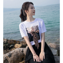 Spring and summer new style Loose Korean ladies short sleeve Character print t-shirt