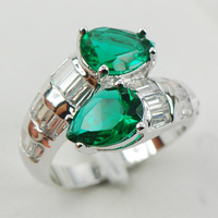 Simulated Emerald Fashion Women 925 Sterling Silver Ring F959 Size 6 7 8 9 10