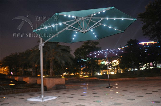 Dia 3 meter 360 degrees rotation aluminum patio parasol sun umbrella with Led light garden sunshade outdoor furniture covers new panda windproof anti uv sun rain flower princess parasol folding umbrella bumbershoot