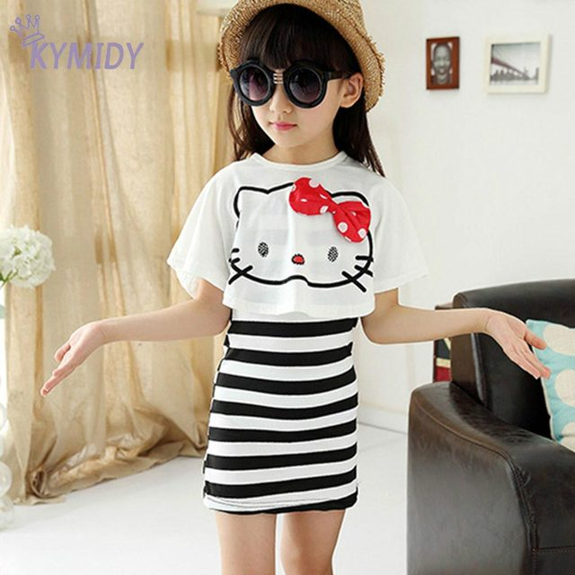 Casual Girls Clothing Sets Summer 2017 Kitty Cat White Shawl +Striped Skirts Kids Children Clothes for Birthday Beach Party Hot