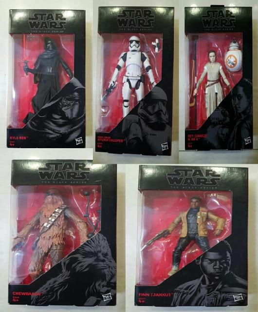 Star Wars The Force Awakens FIIN CHEWBACCA STORMTROOPER KYLD REN  Rey (Jakku) & BB8 BB-8 Black Series Set PVC Action Figure 6″