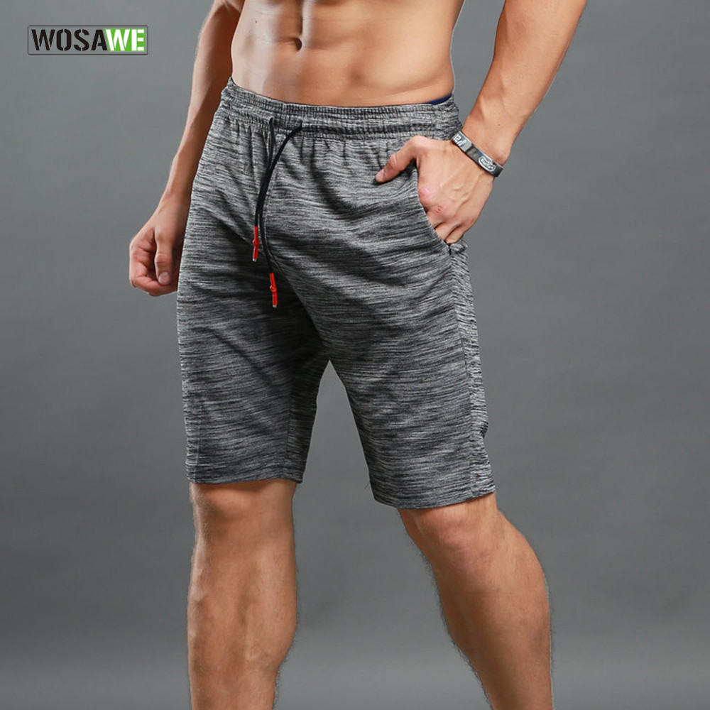WOSAWE Elastic Waist Running Shorts Quick Dry Training Jogging Workout GYM Shorts Leisure Summer Sportswear