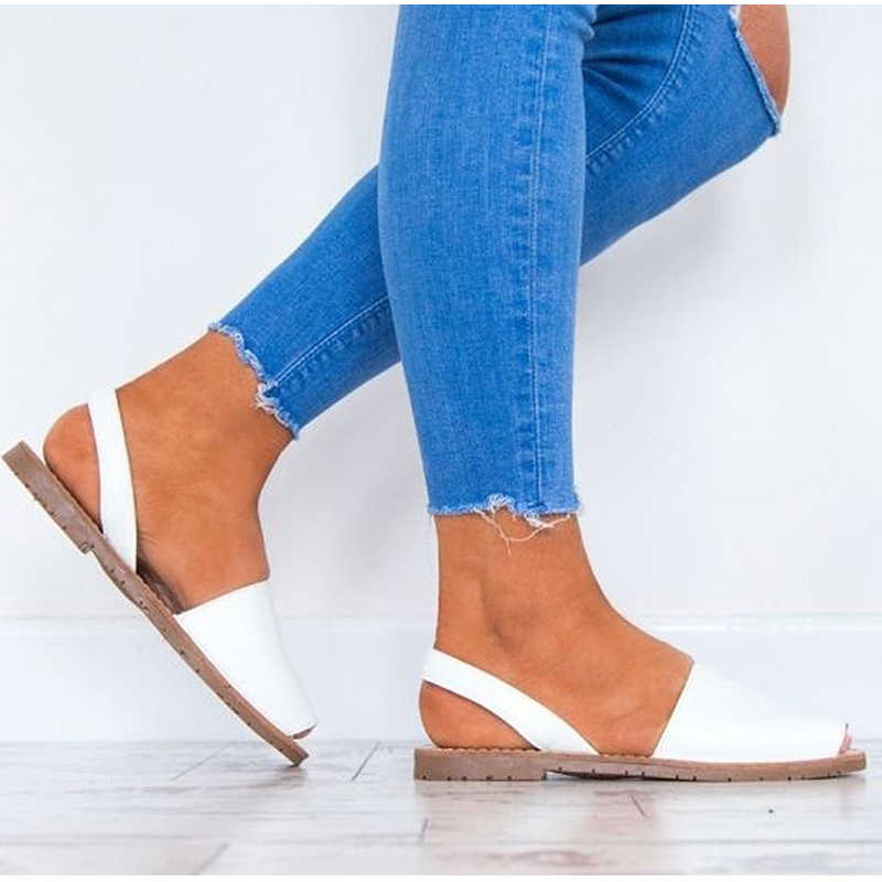 83a92f3e ... Women Flat Summer Sandals Ladies Gladiator Peep Toe Elastic Band Fashion  Platform Shoes Plus Size Female
