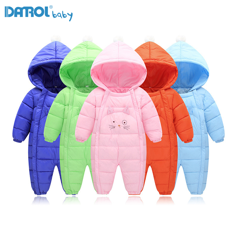 New Warm Cotton Baby Parka Solid Hooded Parka For Baby Boy Baby Girl Winter Coat Thick
