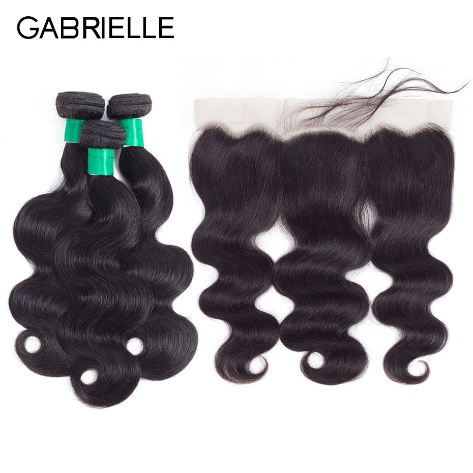 Gabrielle Indian Body Wave 8 to 28 Human Hair 3 Bundles with 13x4 Lace Frontal Free