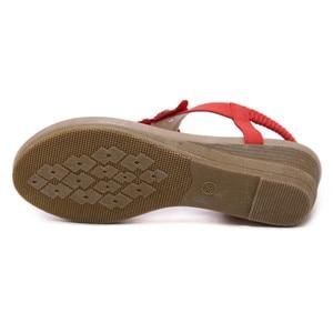 Image 4 - BEYARNE sandalias de cuña para mujer, chanclas bohemias Oxford con flor de cristal a la moda, sandalias de playa suaves étnicas 35 42E614