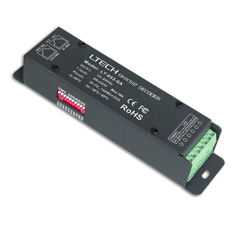 New 3CH DMX decoder 6A*3CH DC 12V-24V 3 Channel LED RGB Strip Light DMX decoder Controller DMX512 Constant voltage Decoder