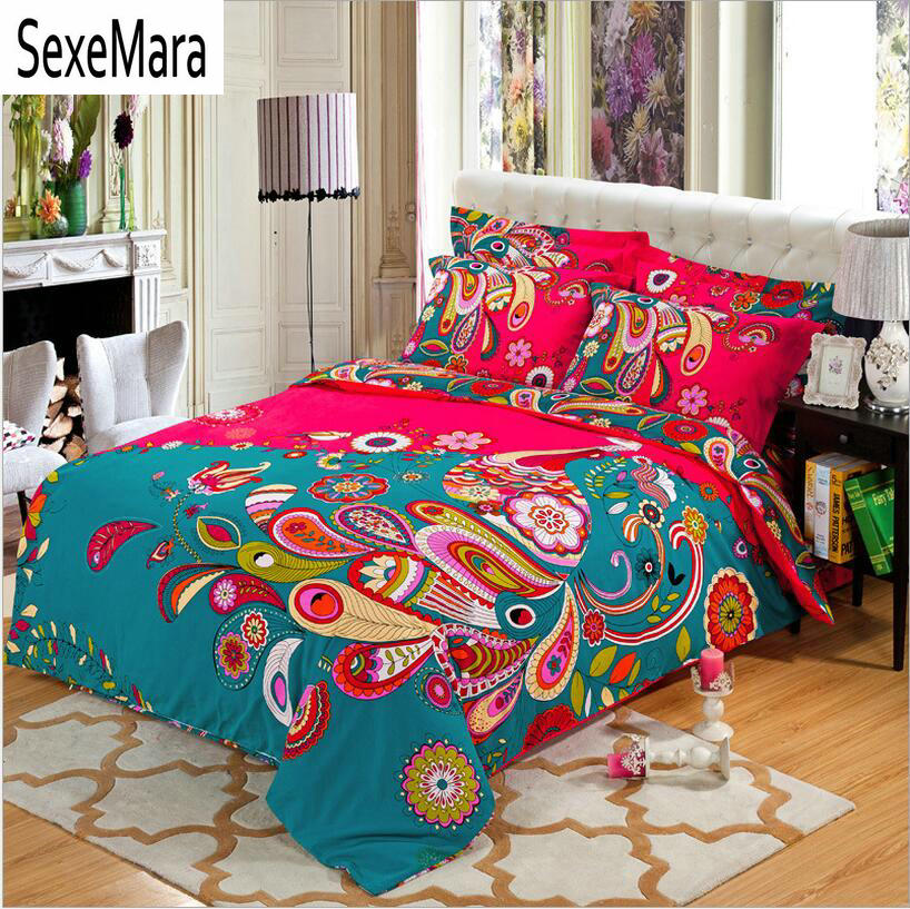 boho/bohemia wedding red bedding sets queen king size,4pcs winter warm quilt/duvet cover bed linen sanded cotton home textile
