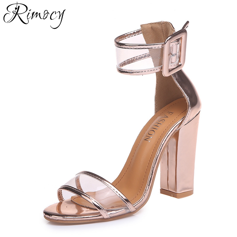 Rimocy gold pink thick high heels sandals women fashion ankle strap open toe pumps woman plus size 34-43 party wedding shoes facndinll women wedding party shoes fashion high heels peep toe glitter platform shoes woman pumps silver gold plus size 34 43