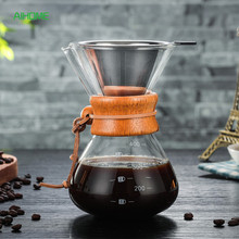 400ml Pour Over Coffee Maker Drip Thicken Glass Container Hand Percolators Stainless Steel Coffee Filter Home Drinkwares