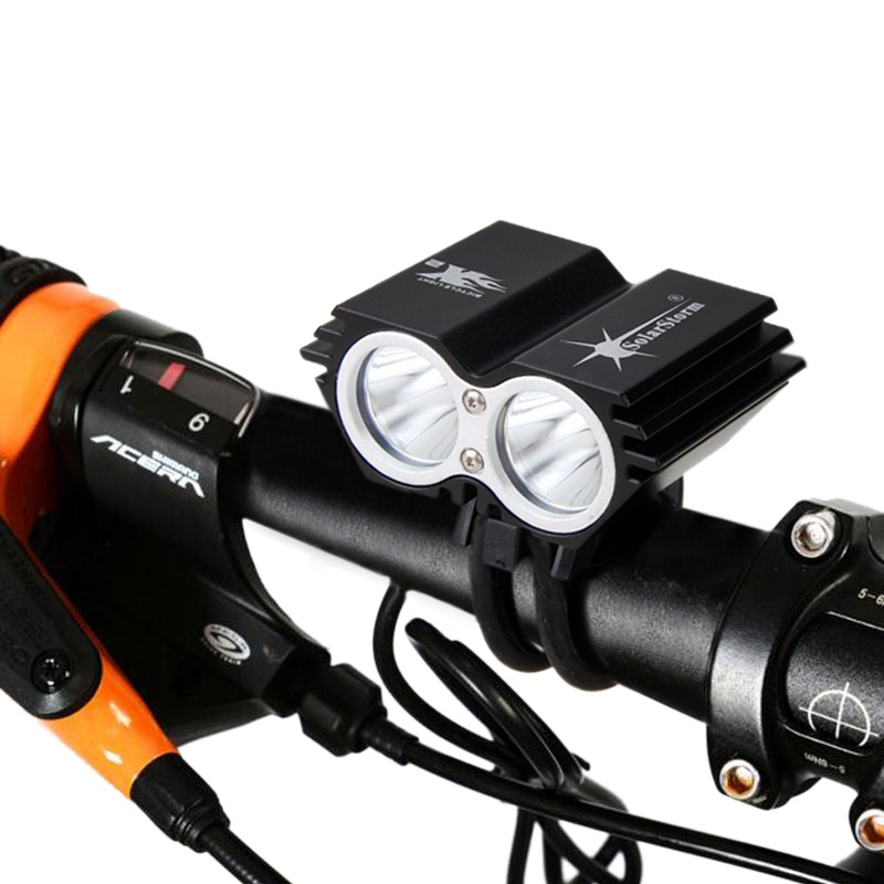 Solar Storm 1600 Lm LED Bike Light 2x XM-T6 Bicycle Light Headlight Torch Headlamp With 6400mAh Battery+Charger
