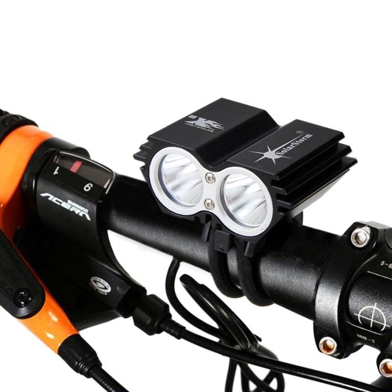 Tempestade Solar 1600 Lm LED Bicicleta Luz 2x XM-T6 Luz Bicicleta Farol Lanterna Farol Com 6400mAh Bateria + Carregador