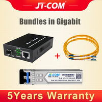 Gigabit SFP Media Converter RJ45 with 1G Single Mode Duplex Transceivers Optical Module 20km DDM/DOM LC Fiber Optic Jumper Cable