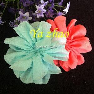 Image 3 - 3,2 дюймовые шифоновые цветы, DIY цветные цветы для головной повязки и аксессуары для волос, 60 шт./лот, бесплатная доставка