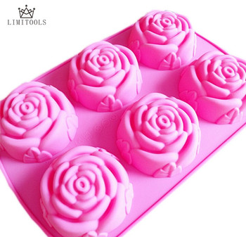 6-rose flower silicone cake mold Ice cream Chocolate molds soap silicone molds 3D cupcake bakeware baking dish cake pan rose