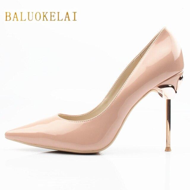 9ae2a53db3d2 Brand Women Pumps Shoes Woman High Heels Metal Heels Stiletto 10CM High  Heels Patent Leather Women Shoes High Heel Pumps FS-0045