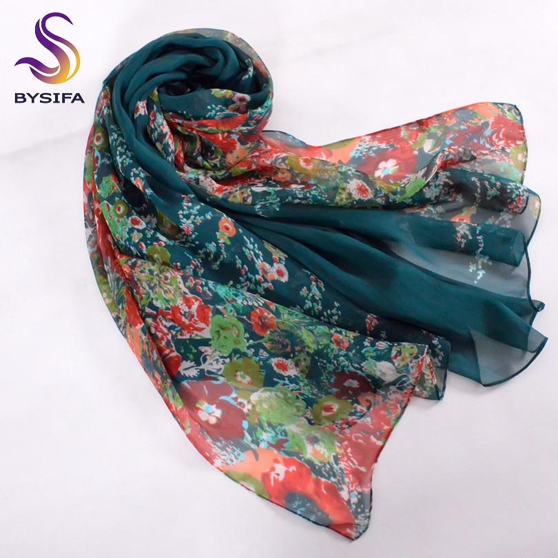 [BYSIFA] Winter Dark Green Silk Schal Neue Marke 100% Naturseide - Bekleidungszubehör - Foto 3