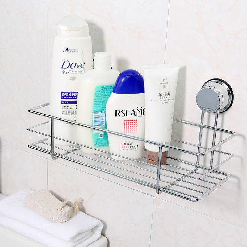 Large Stainless Steel Bathroom Shampoo Kitchen Storage Baskets Shelf Free Nail Drilling Organization Wall Strong Sucker Racks