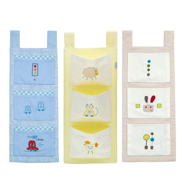 Cotton Baby Crib Organizer Cot Hanging Bag Diaper Storage for Baby Bedding set
