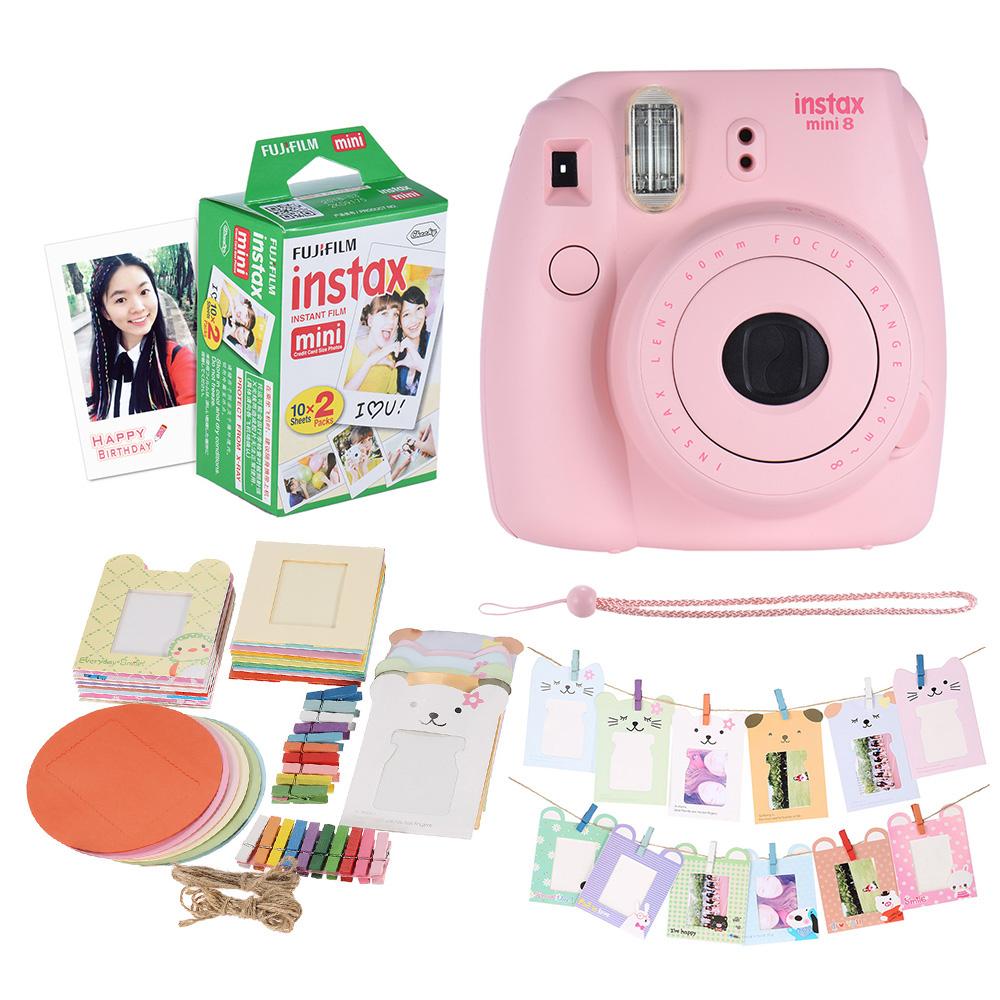 Prix pour Fujifilm Instax Mini 8 Camera Kit Ensemble Film Caméra Photo Appareil Photo Instantané avec 20 * Film + Photo Cadre + Clip + Sangle De Suspension