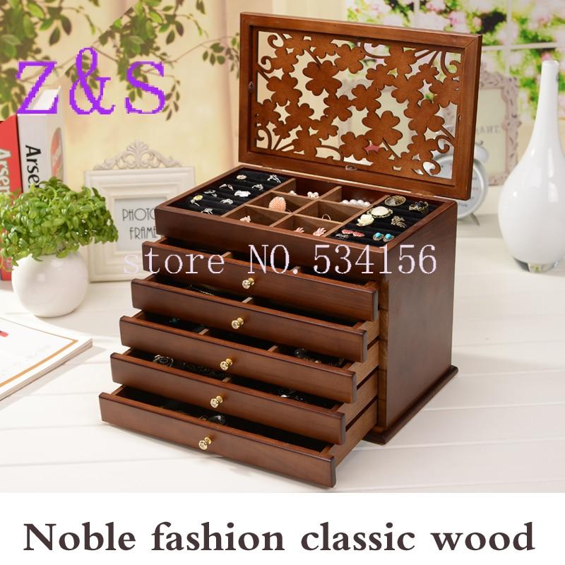 Caixa de jóias de madeira caixa de armazenamento caixa de exibição de presente jóias lagre caixa de presente embalagem caixão casamento feriado presente organizador de maquiagem