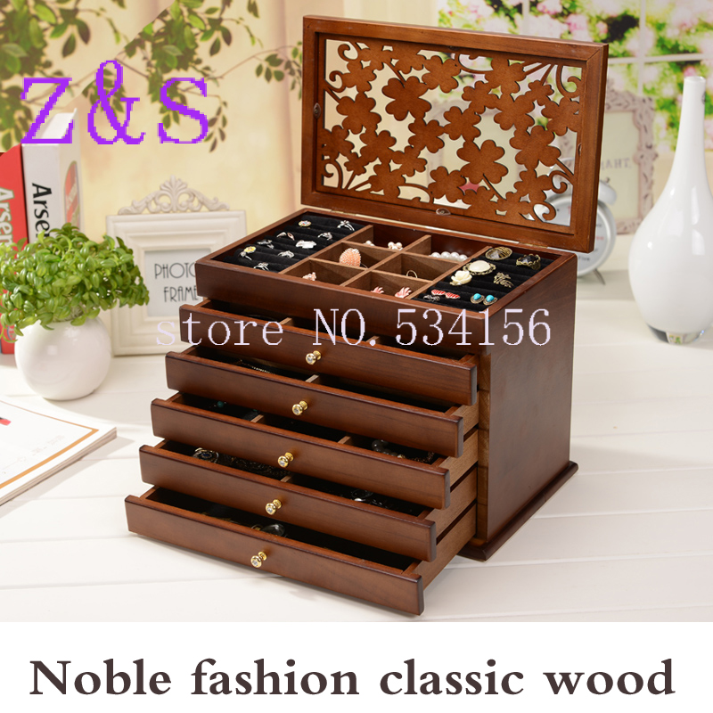 Wood Jewelry Box Storage Gift Display Box Jewelry Lagre Gift Box Packaging casket marriage holiday gift makeup organizer box рив гош holiday box 1
