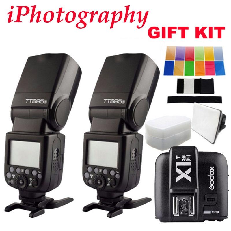 Godox TT685N HSS External TTL flash Speedlite + X1T-N trigger For Nikon D90 D7100 D5100 D5200 D3100 D3200 With GIFT KIT godox v860ii n v860iin gn60 i ttl hss 1 8000s speedlite flash w li ion battery x1t n flash transmitter optional for nikon