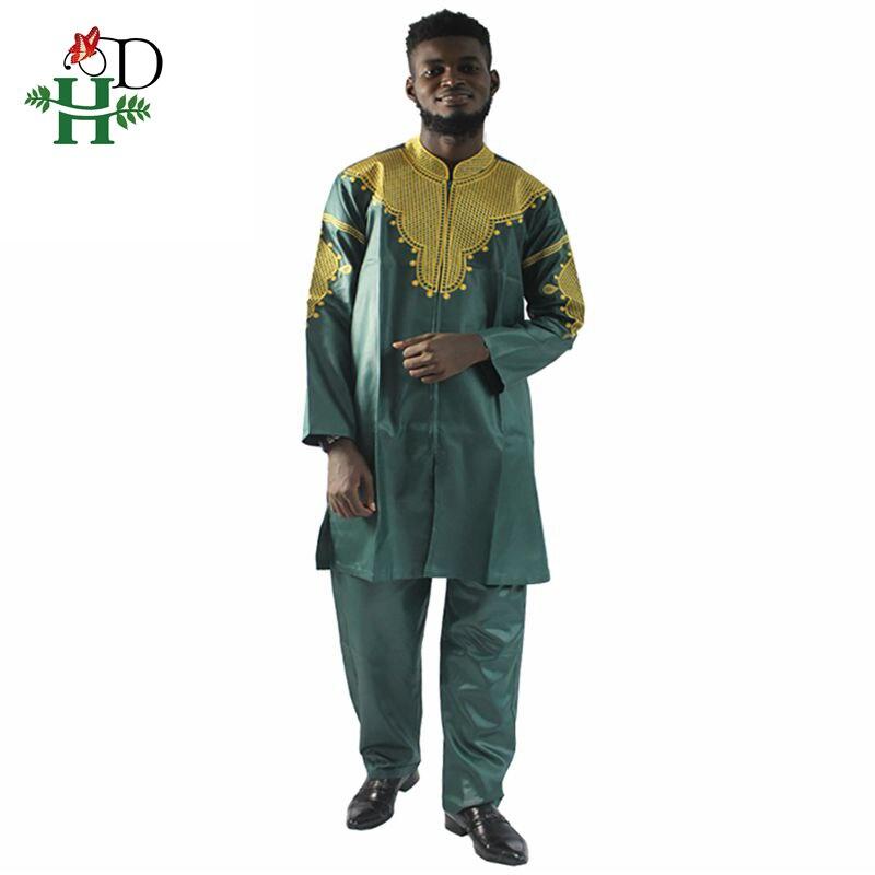 Image 5 - H&D African mens clothing traditional zipper riche africano hombres camisa con pantalones bordado camiseta pantalones dashikiafrican manafrican mens clothingmens african clothing -