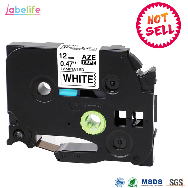 Labelife 12 มิลลิเมตร TZ TZe ลามิเนตเทป TZe231 บราเดอร์ P - Touch สีดำบนสีขาวริบบิ้นสำหรับเครื่องพิมพ์, label Maker