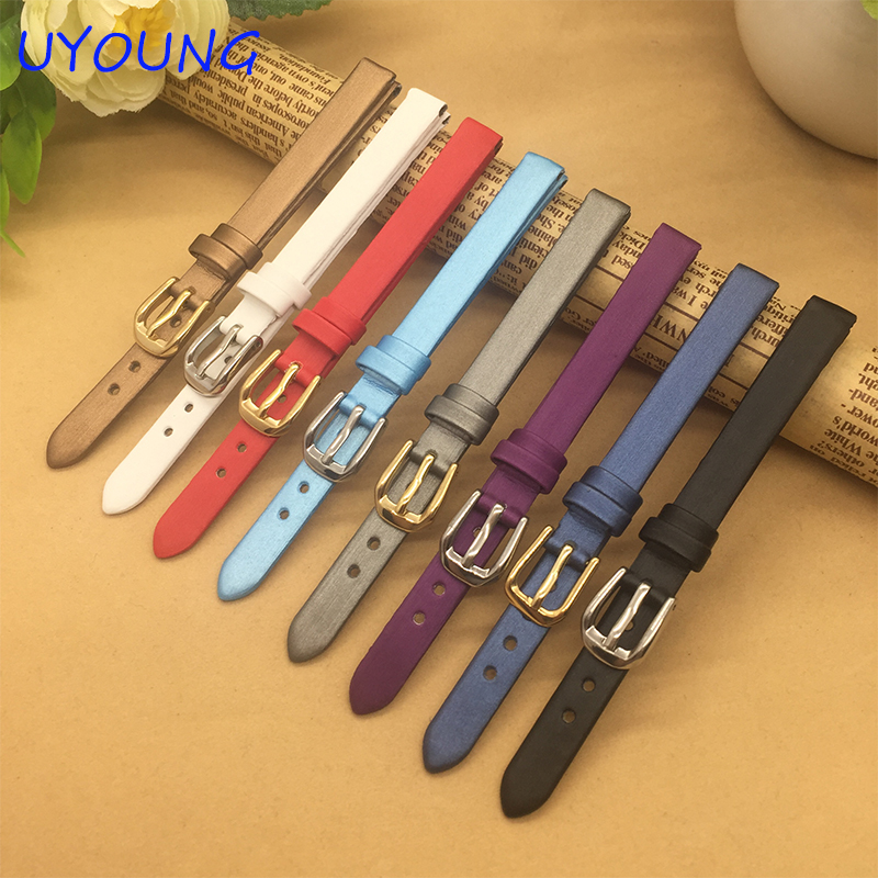 Ultrathin Spun silk Watchband 6mm 8mm 10mm Small Size Replacement Leather Watch bands For Womens zyxel es1100 24e