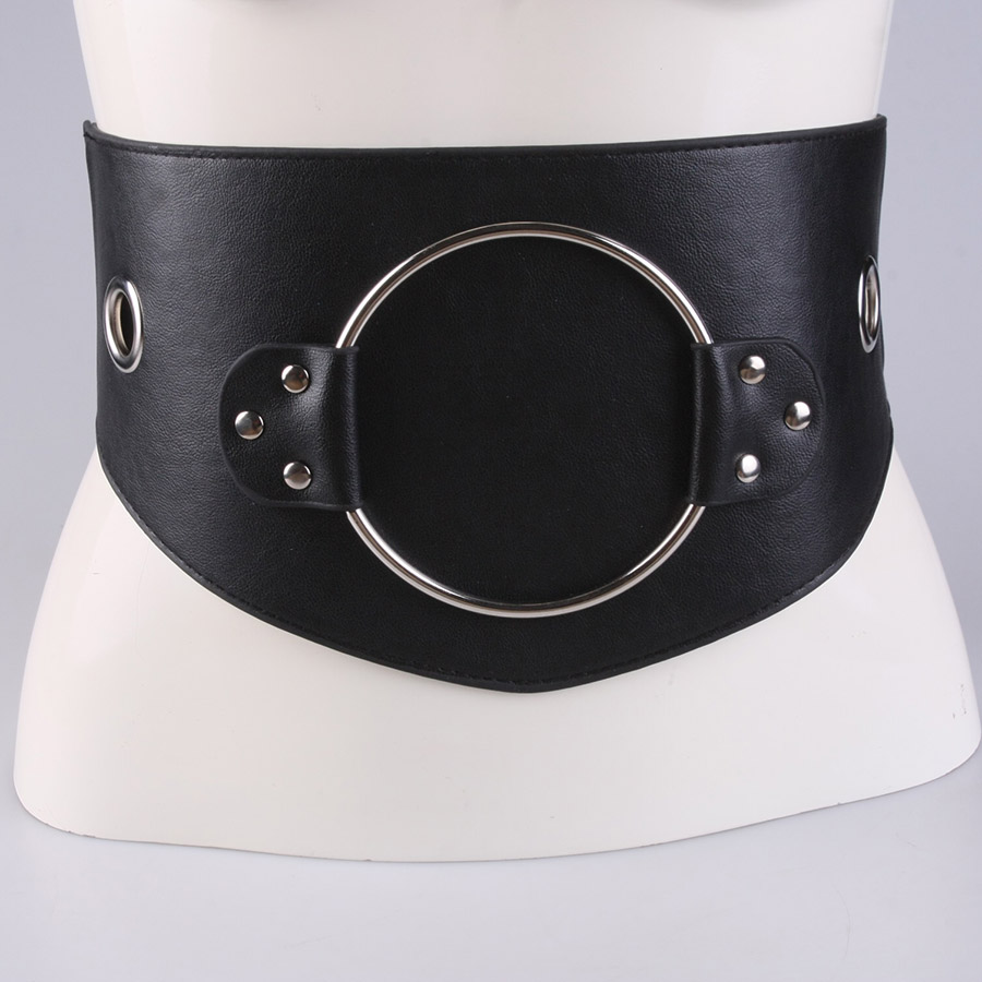 Big circle adornment ultra wide belt female black elastic waist deserve to act the role of waist fashion and personality