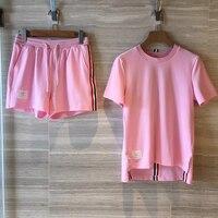Летние женские комплекты костюмов 2019 комплект из двух предметов женские шорты и топ повседневная одежда розовая футболка Топы + эластичные